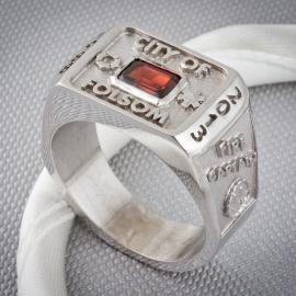 Mens garnet custom class ring