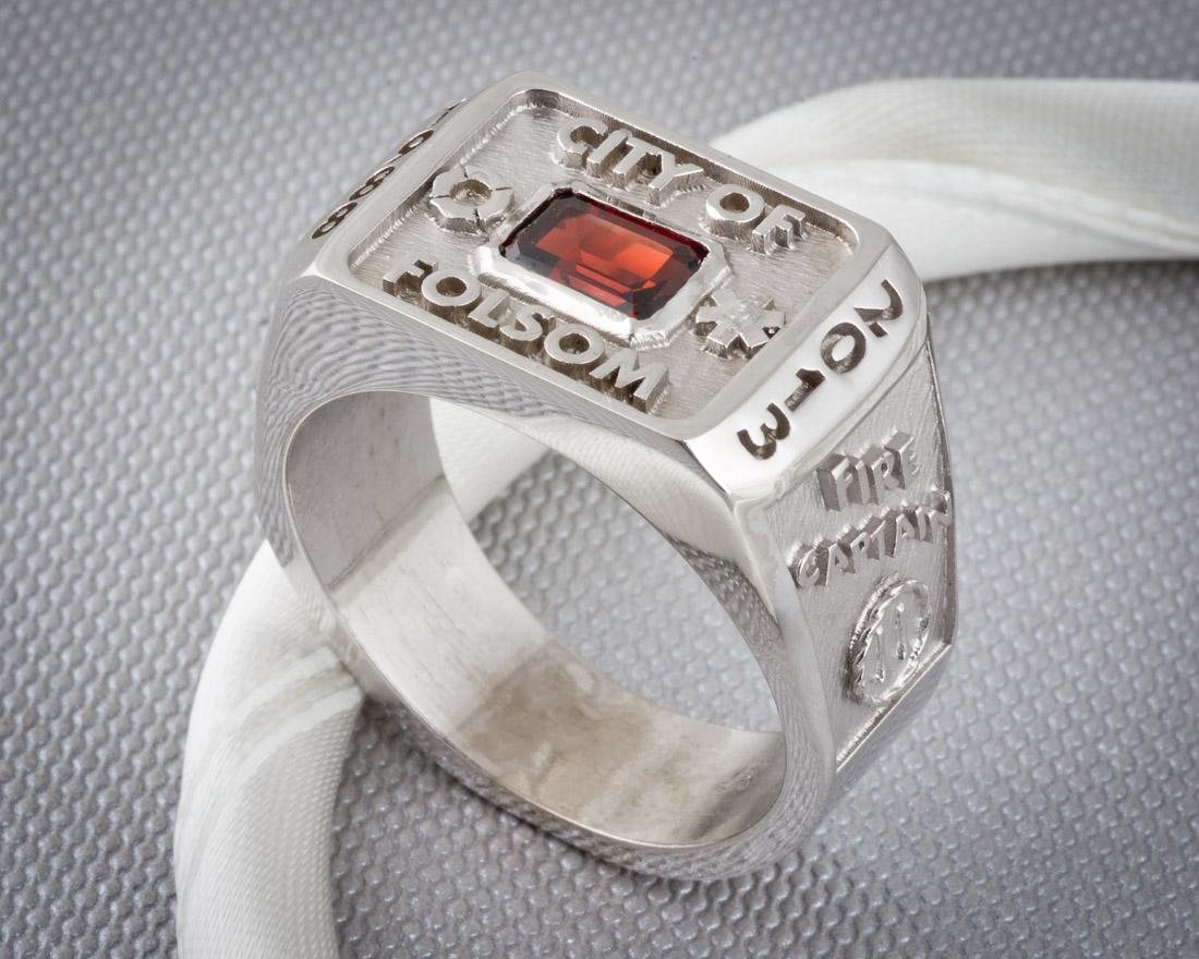 Mens garnet custom class ring