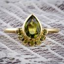 Pallasitic peridot custom ring - front