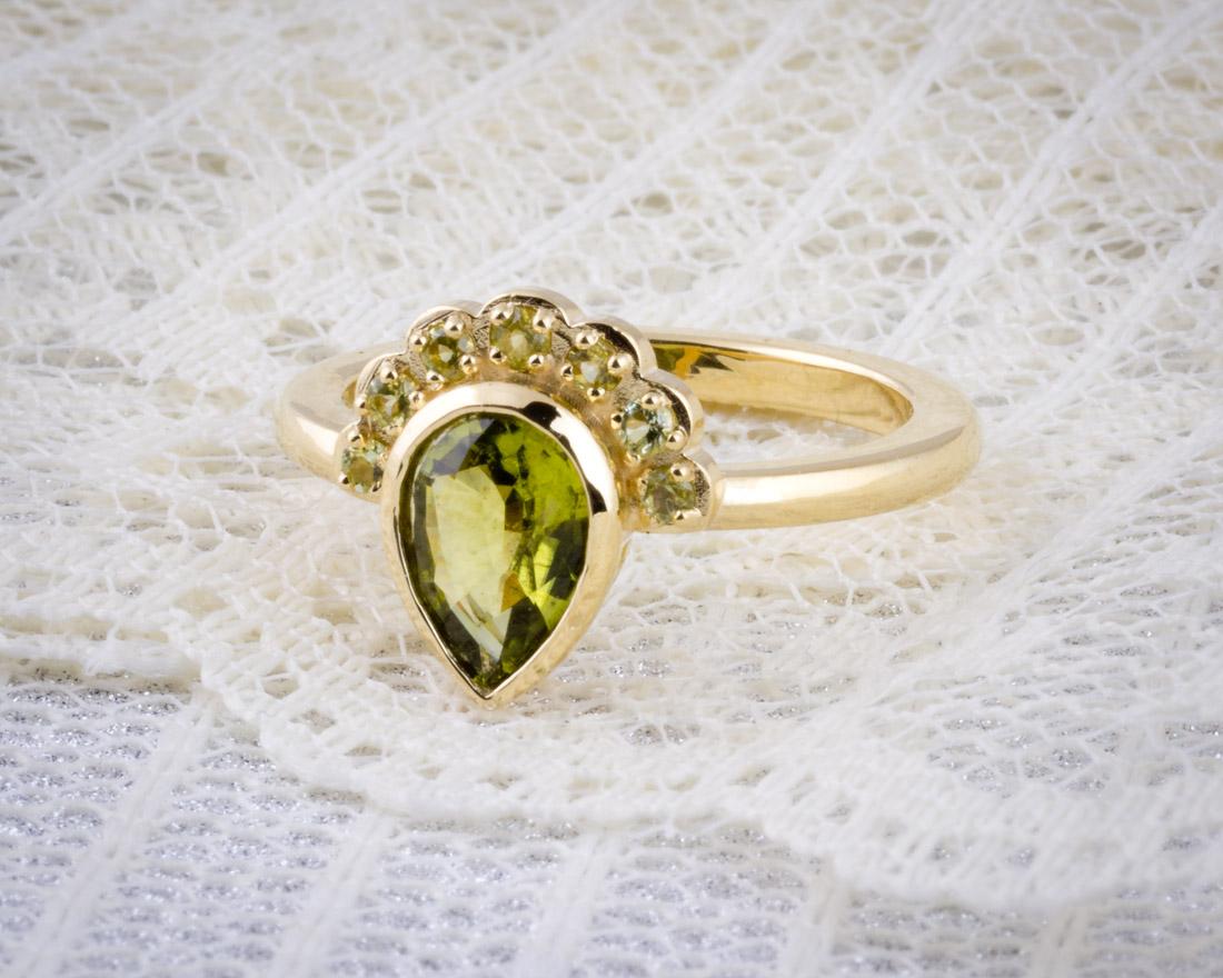 Pallasitic Peridot Custom Ring; Pallasitic Peridot Custom Ring  Side