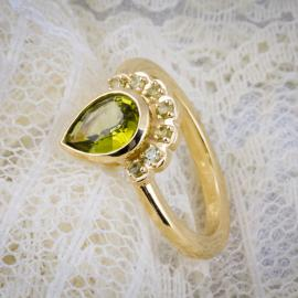 Pallasitic peridot custom ring