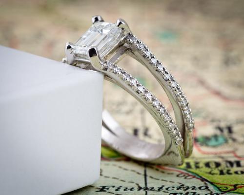 Split shank emerald cut diamond engagement ring