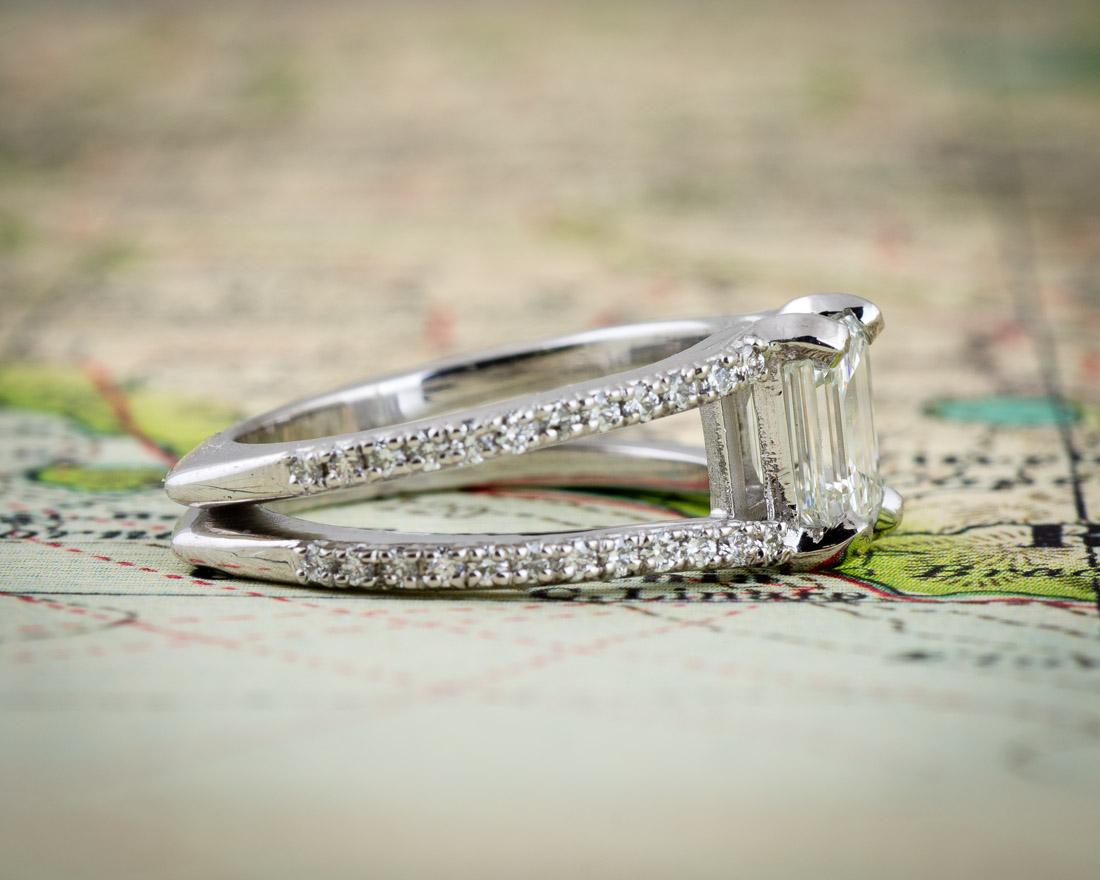 Split Shank Emerald Cut Diamond Engagement Ring  Opposite