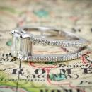 Split shank emerald cut diamond engagement ring - side