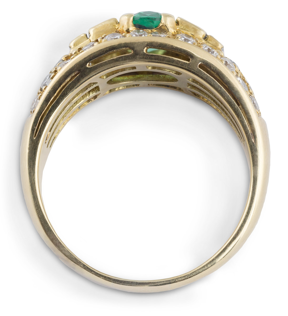Emerald Ring with Diamond Accents - Top