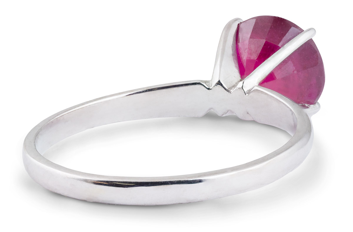 Elegant Ruby Solitaire Ring - Back