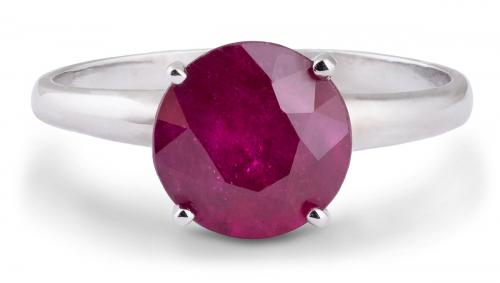 Elegant Ruby Solitaire Ring