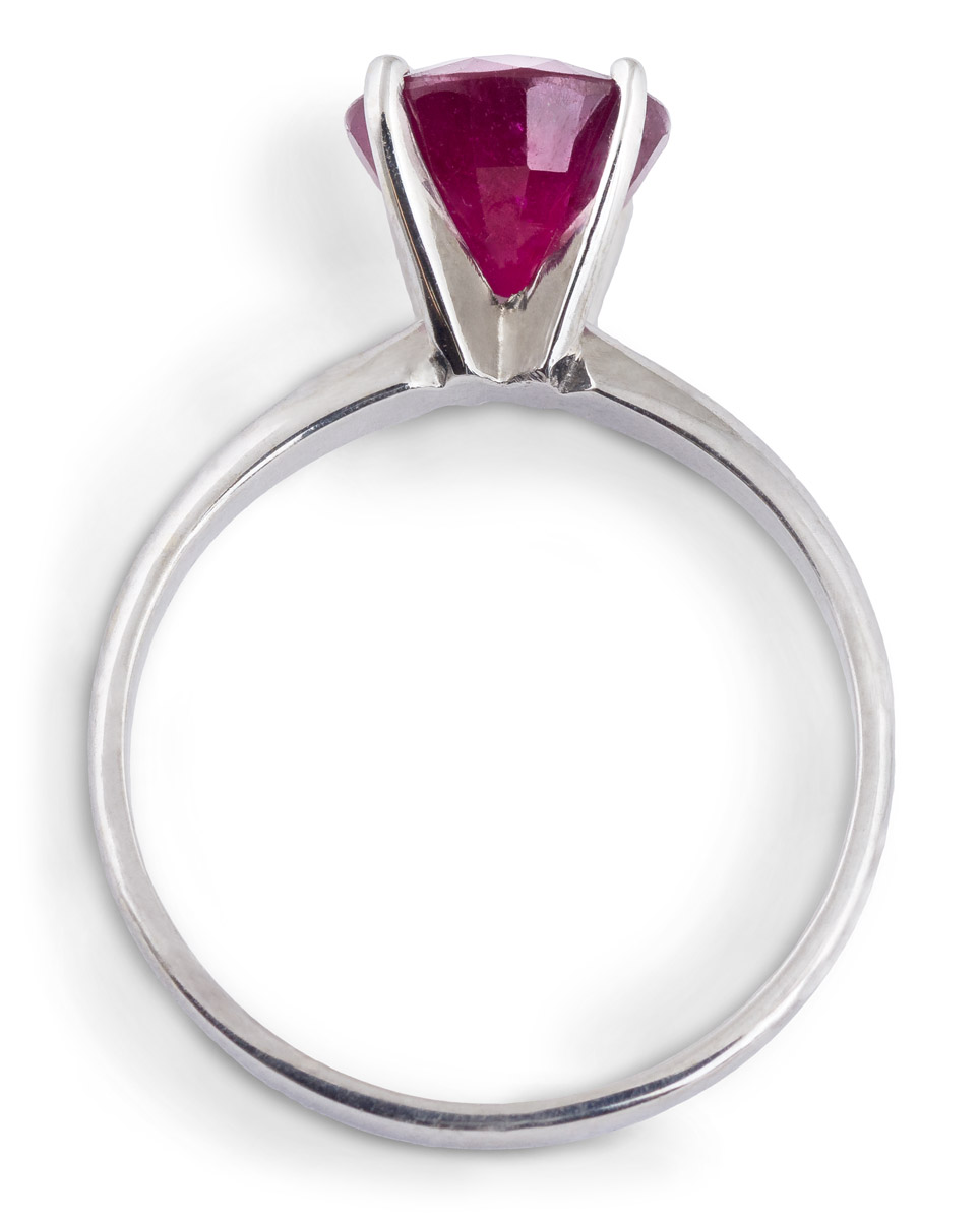 Elegant Ruby Solitaire Ring - Top