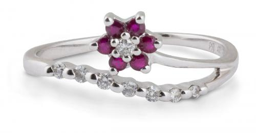 Curved Shank Diamond and Ruby Flower Ring