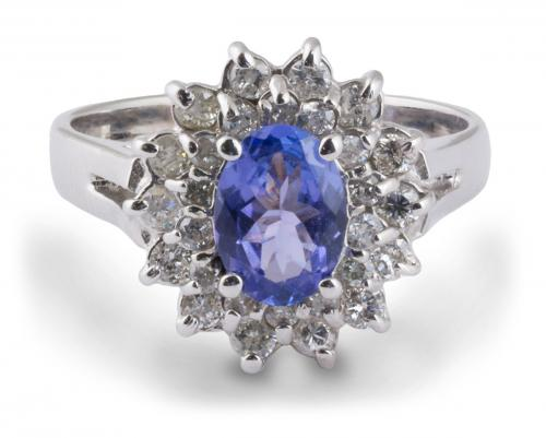 Double Diamond Halo Oval Tanzanite Ring