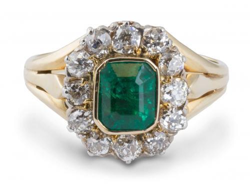 Vintage Emerald Ring with Diamond Halo