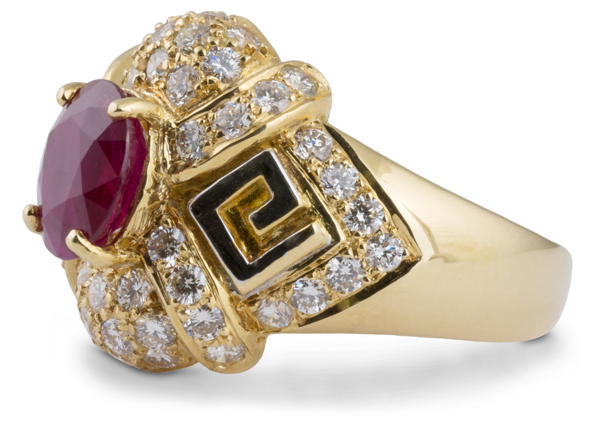 Ruby Cocktail Ring with Diamond Accents - Side