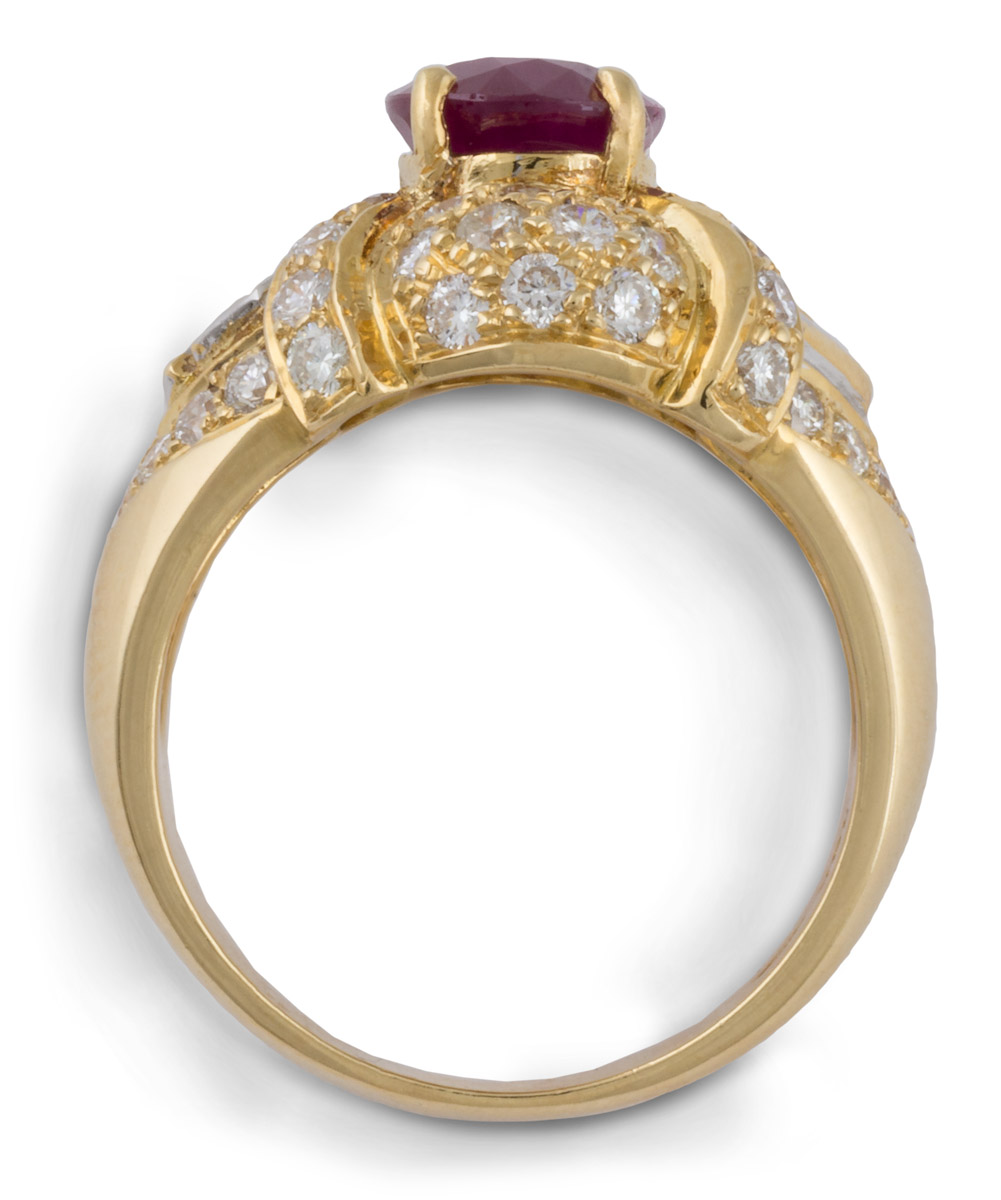Ruby Cocktail Ring with Diamond Accents - Top