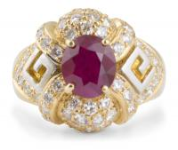 Ruby Cocktail Ring with Accent Diamonds