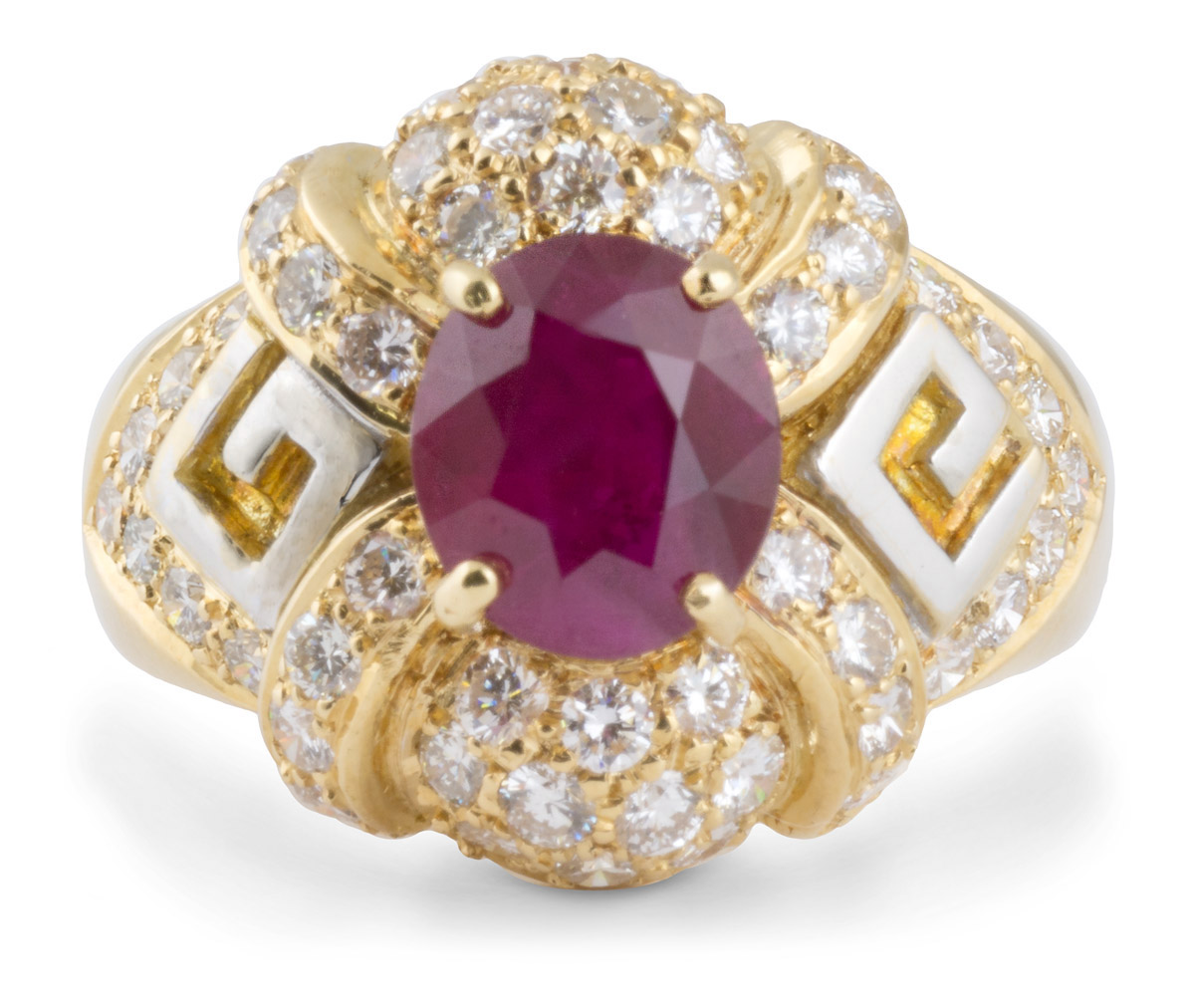 Ruby Cocktail Ring with Diamond Accents