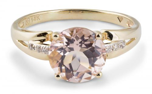 Modern Morganite Solitaire Ring with Diamond Accents