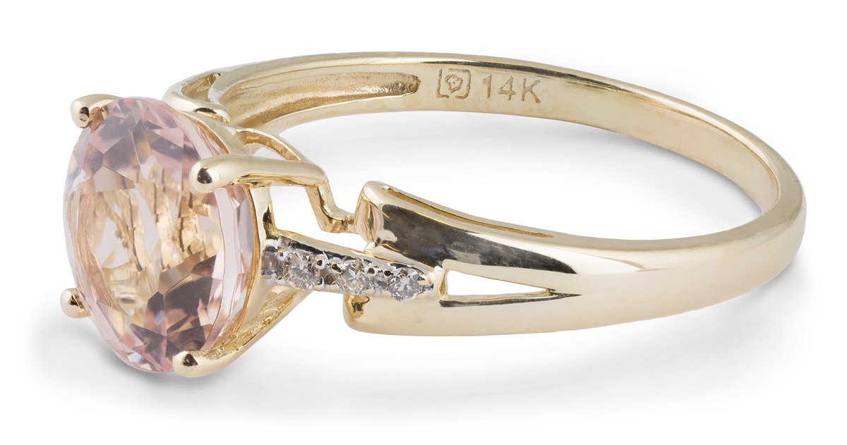 Modern Morganite Solitaire Ring with Diamond Accents - Side