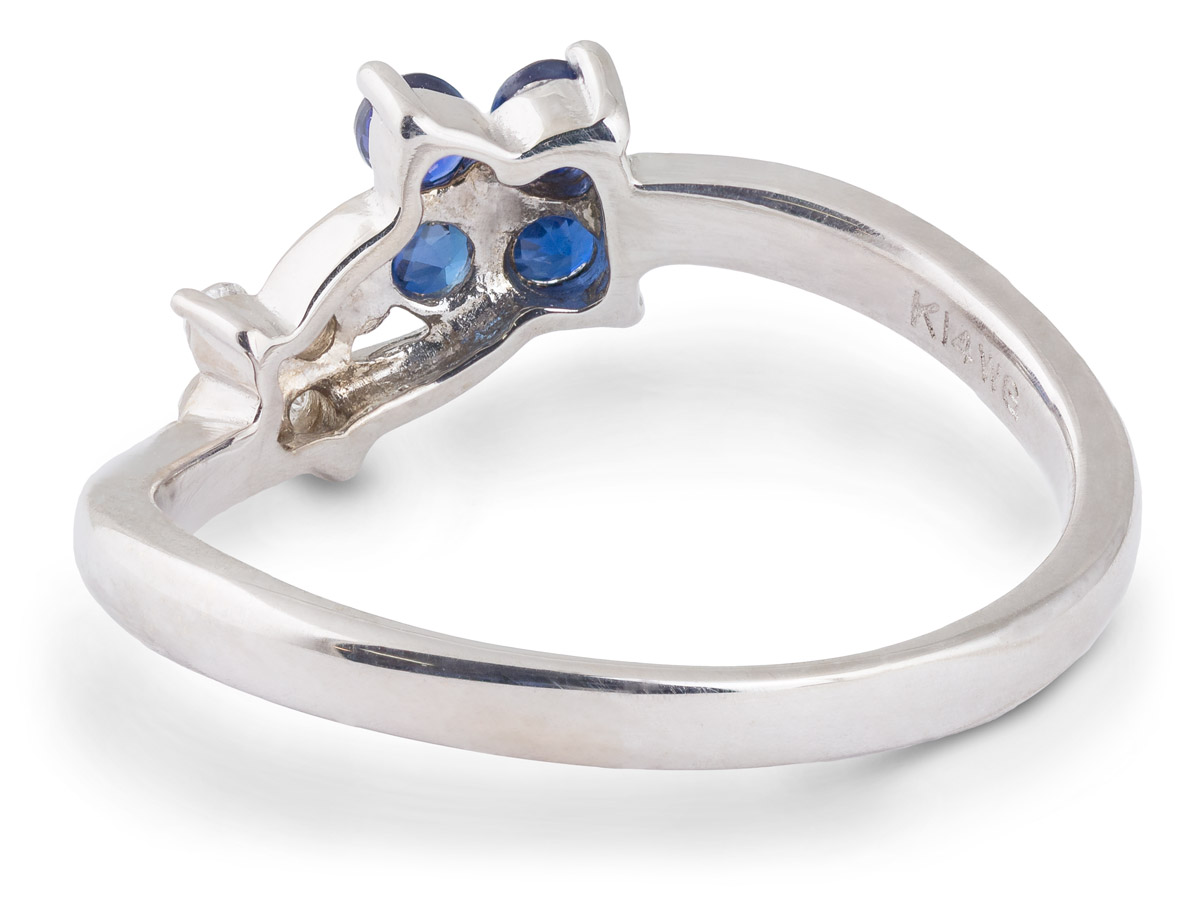 Sapphire and Diamond Flower Ring - Back