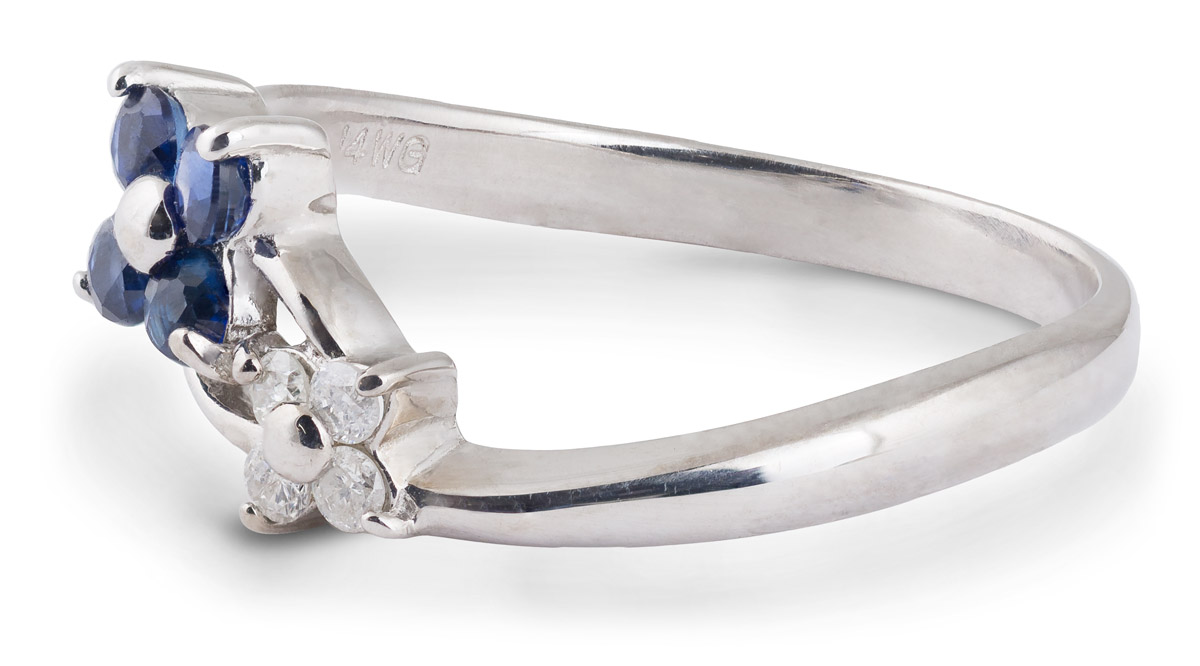 Sapphire and Diamond Flower Ring - Side