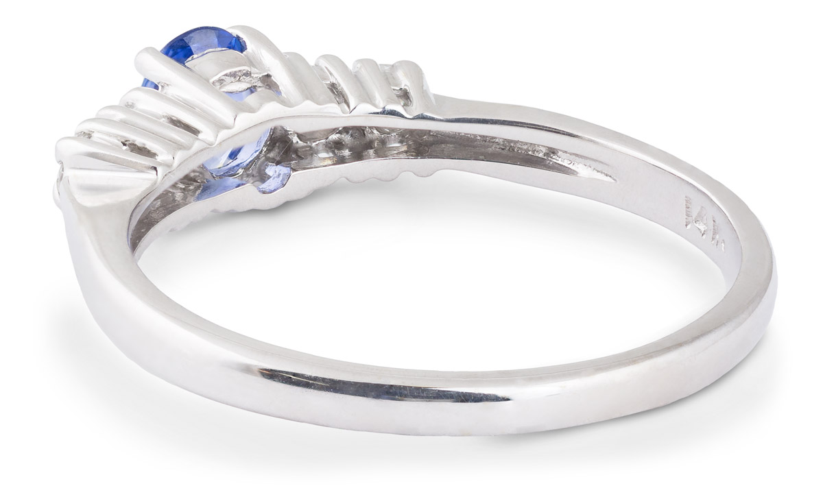 Oval Sapphire Ring with Diamond Accents - Back