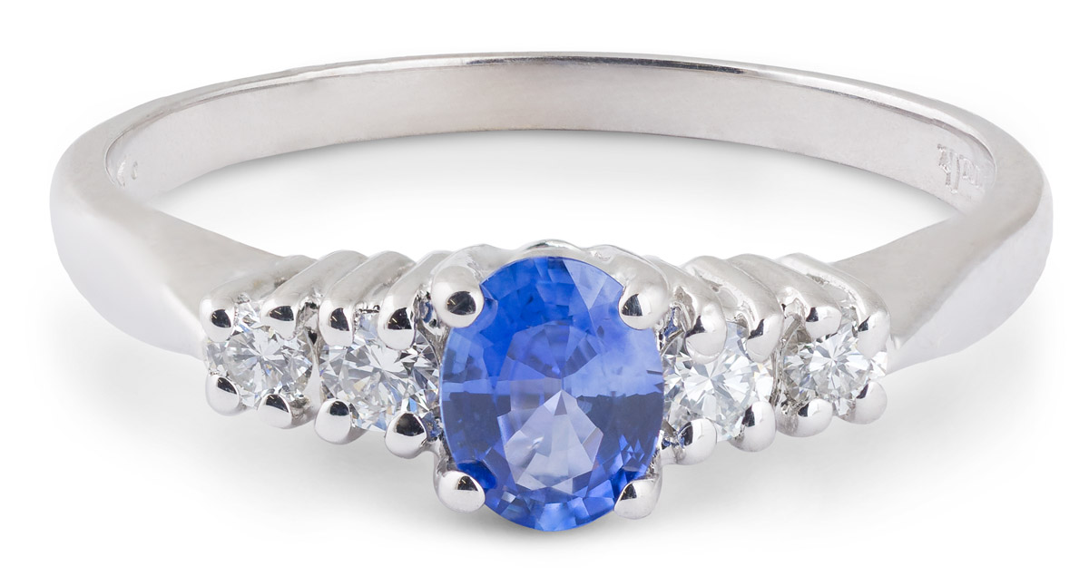 Oval Sapphire Ring with Diamond Accents