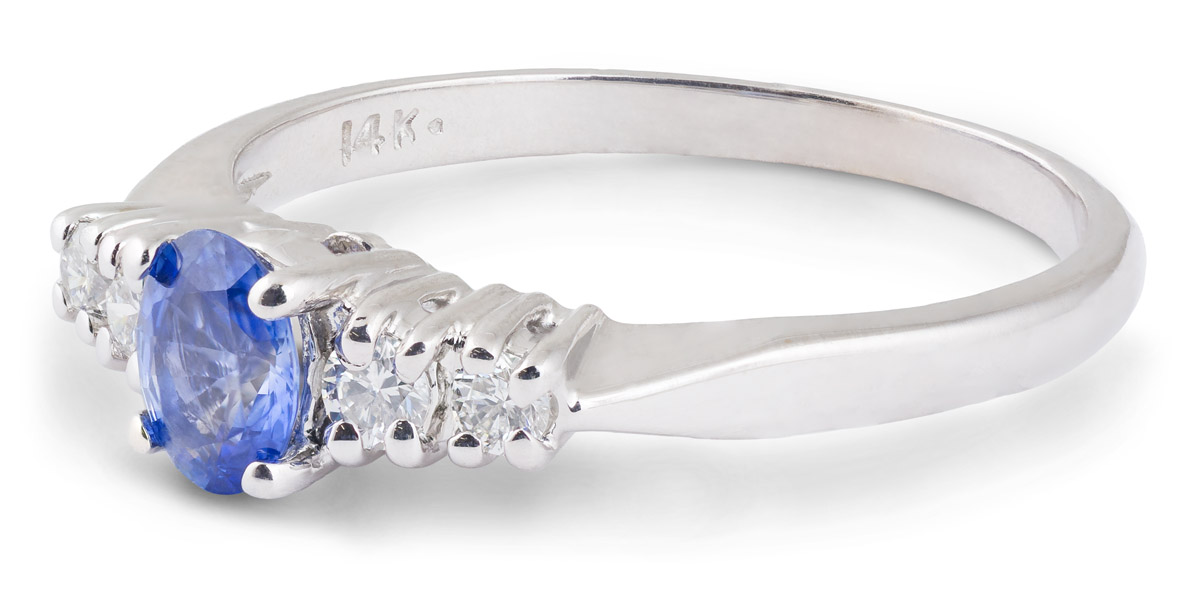 Oval Sapphire Ring with Diamond Accents - Side