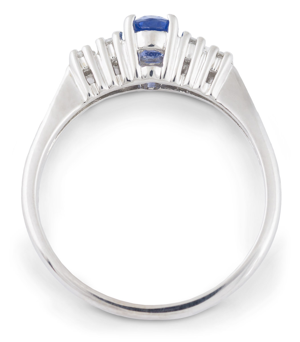 Oval Sapphire Ring with Diamond Accents - Top