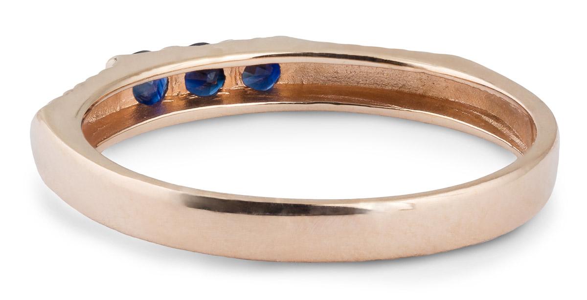 Angled Shank Sapphire Three-Stone Ring - Back