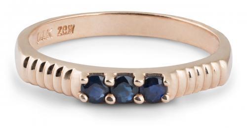 Angled Shank Sapphire Three-Stone Ring