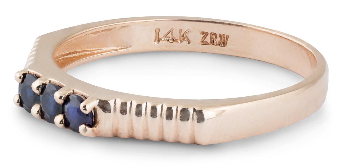Angled Shank Sapphire Three-Stone Ring - Side