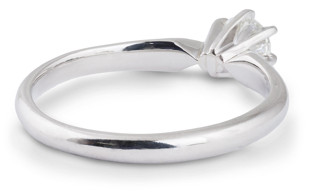 Simple Crown Diamond Solitaire Engagement Ring - Back