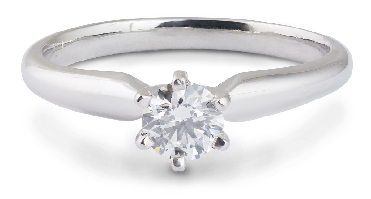 Simple Crown Diamond Solitaire Engagement Ring