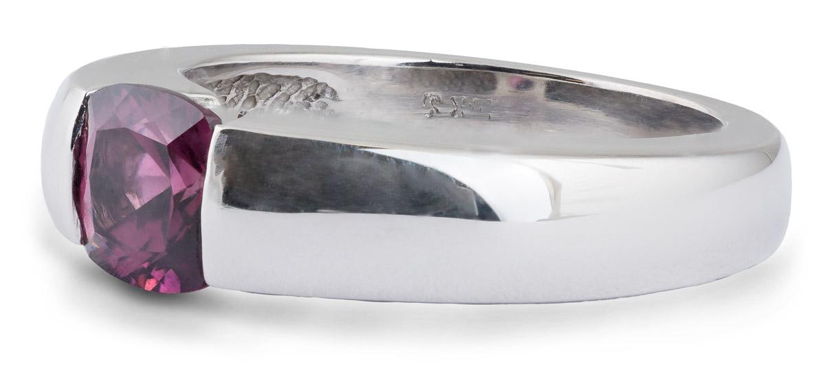 Rhodolite Garnet Solitaire Ring - Side