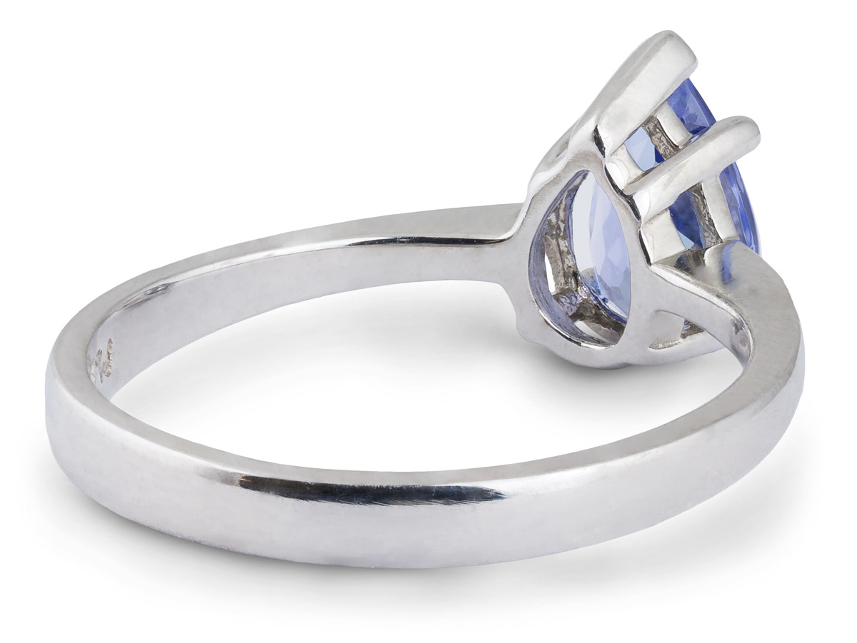 Tapered Shank Tanzanite Solitaire Ring - Back
