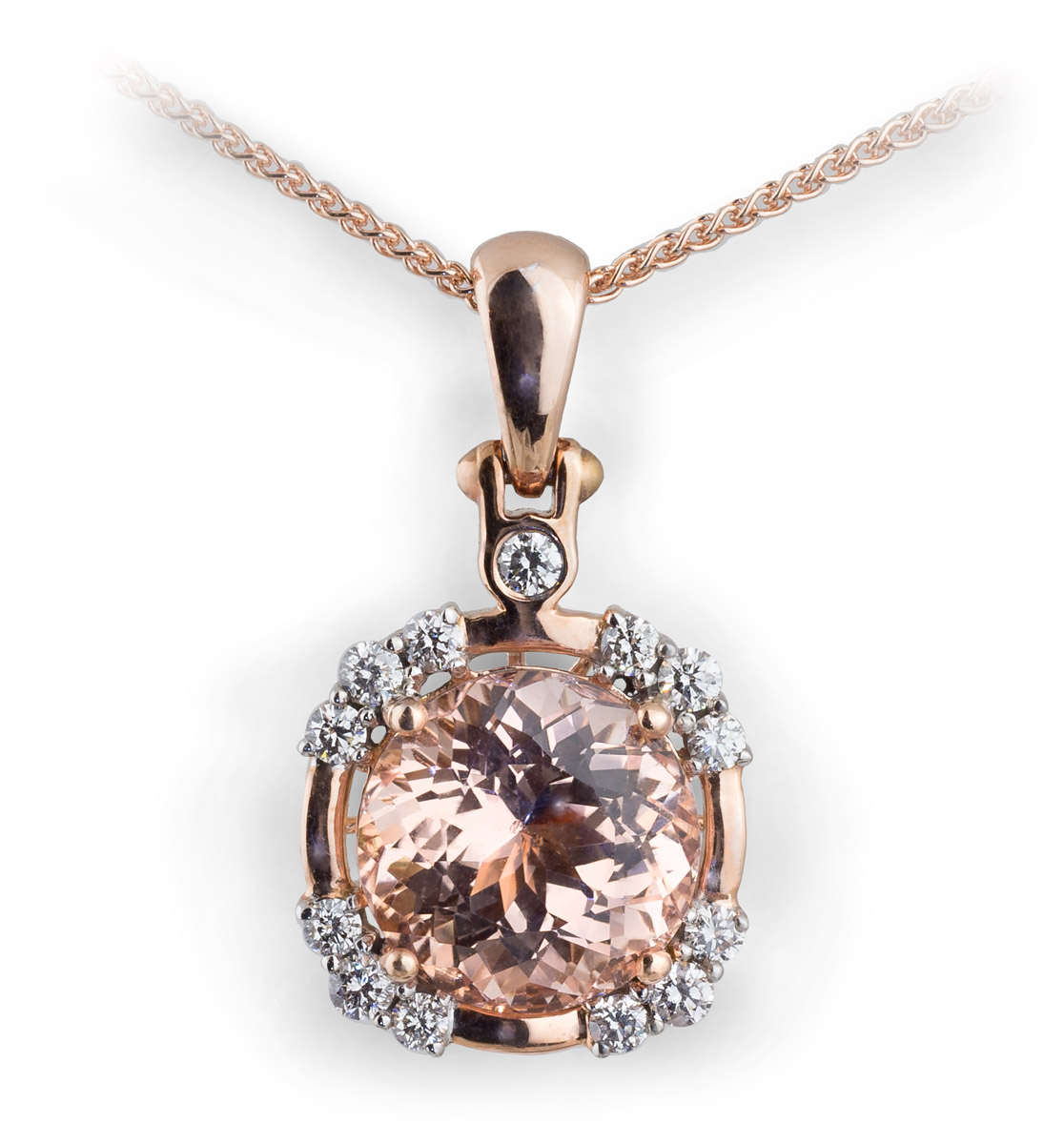 Rose Gold Morganite Pendant With Diamonds
