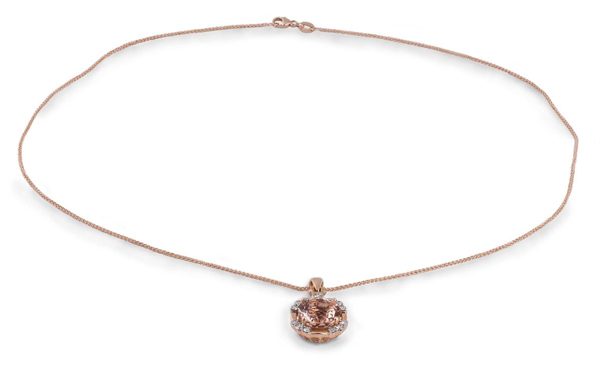 Rose Gold Morganite Pendant With Diamonds - Full