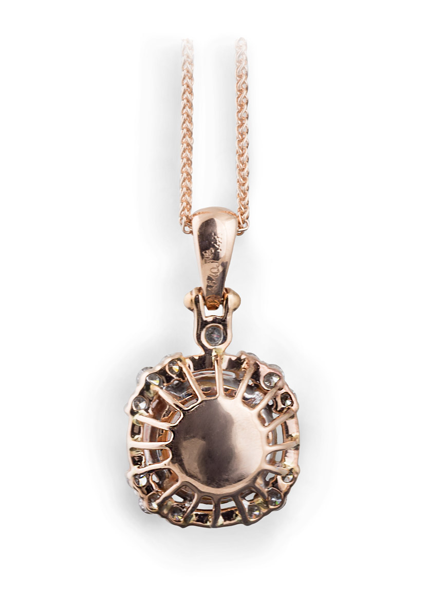 Rose Gold Morganite Pendant With Diamonds - Back