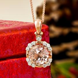 Rose gold morganite diamond pendant