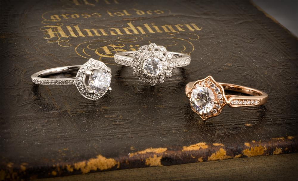 Vintage halo style engagement rings