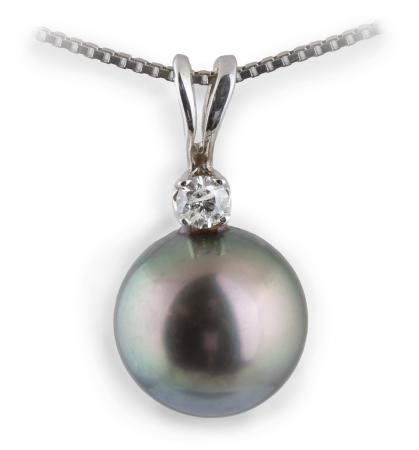 Black Pearl Pendant with Diamond Accent