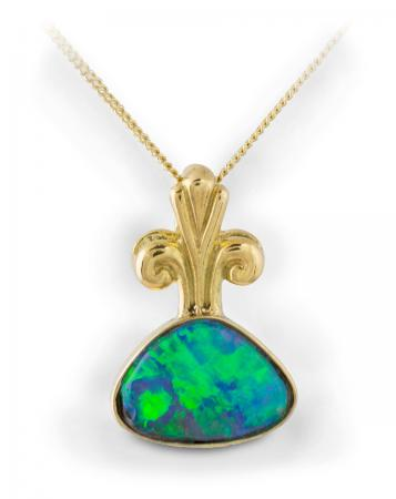 Black Opal Bezel Pendant With Decorative Bail