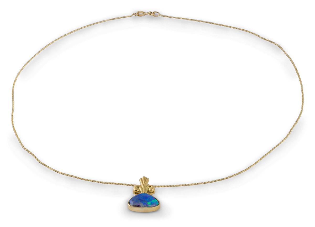 Black Opal Bezel Pendant With Decorative Bail - Full