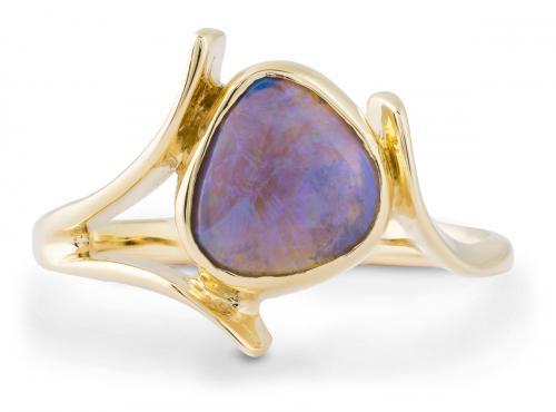 Asymmetrical Black Opal Bezel Solitaire Ring