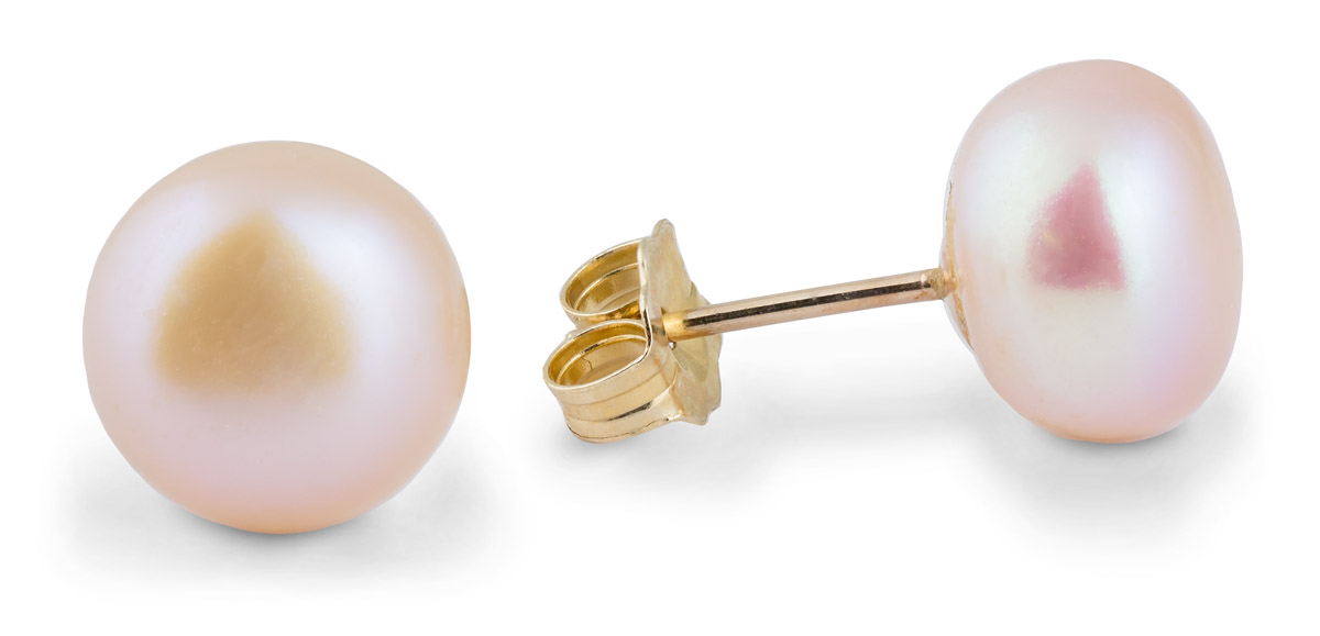 pink stud earrings freshwater pearl