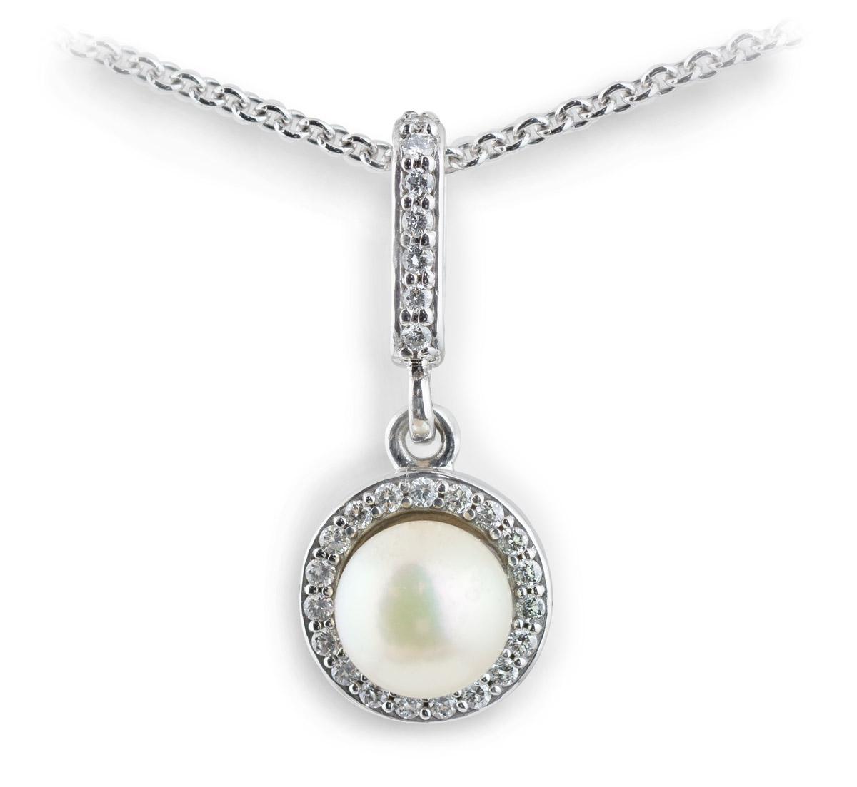 Akoya Pearl Pendant with Diamond Halo