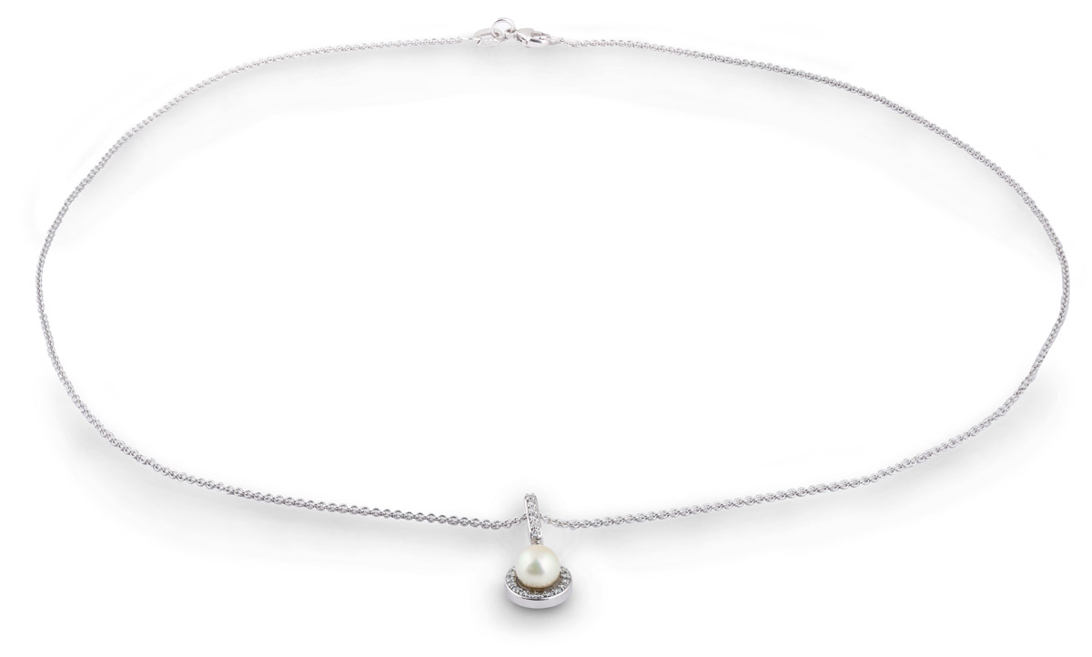 Akoya Pearl Pendant with Diamonds - Full