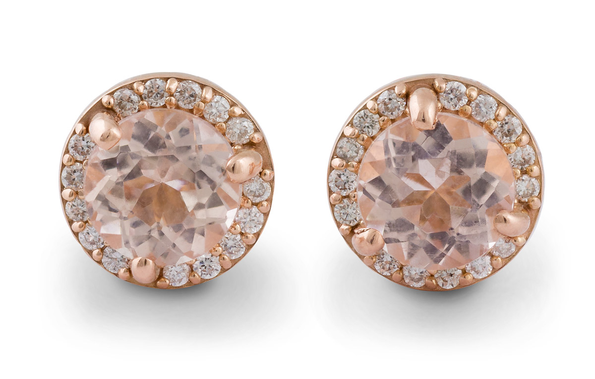 earrings with diamonds rose in morganite gold stud