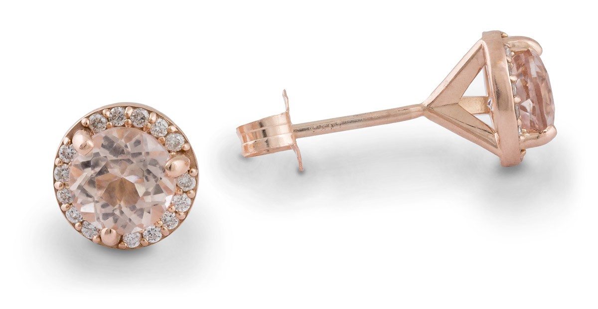 Rose Gold Morganite Stud Earrings With Diamond Halo - Side