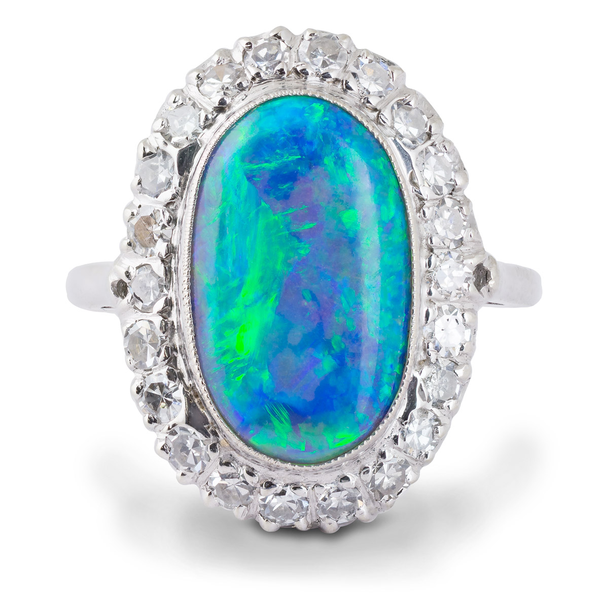 Vintage Black Opal Ring With Diamond Halo