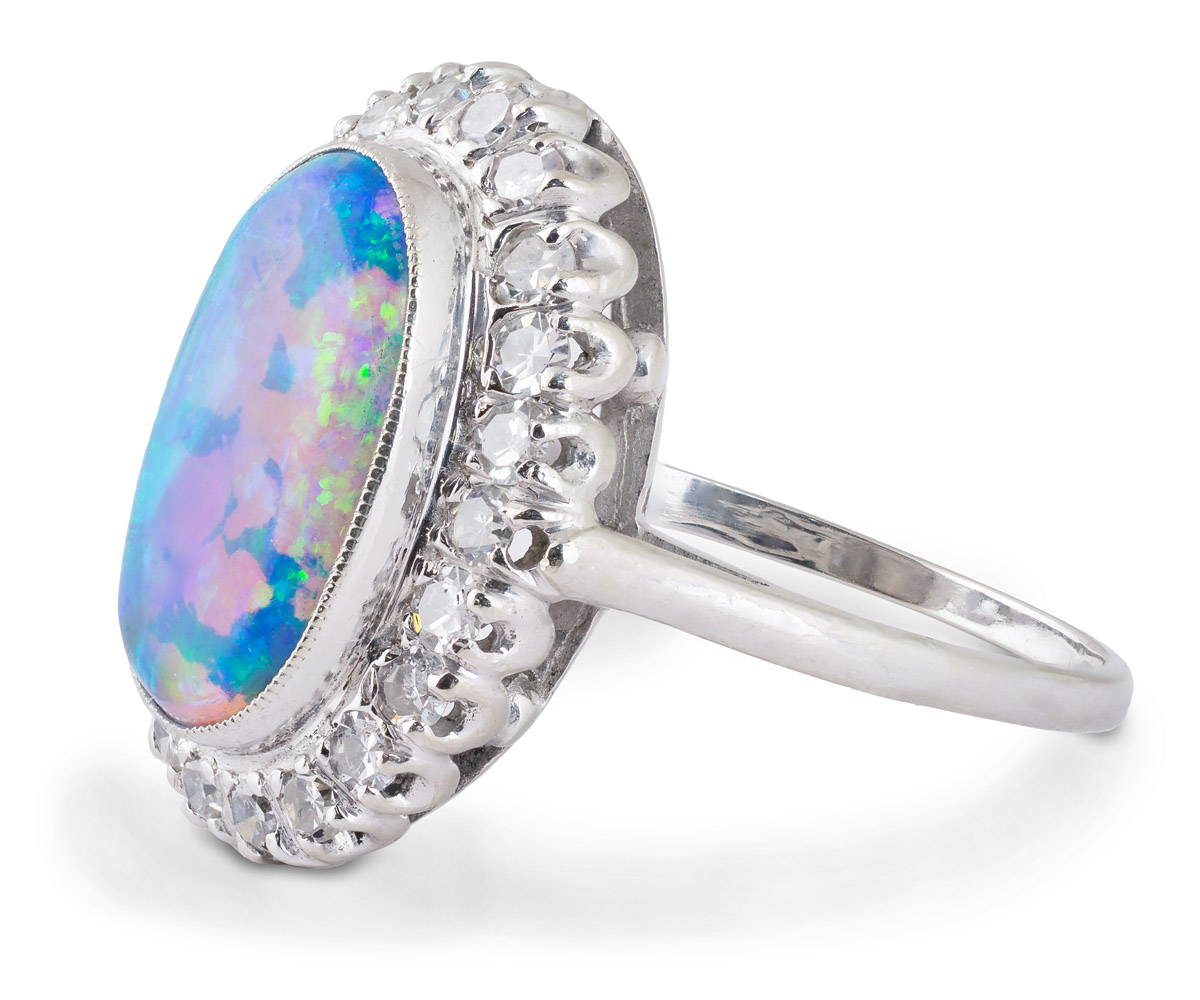 Vintage Black Opal Ring With Diamond Halo - Side